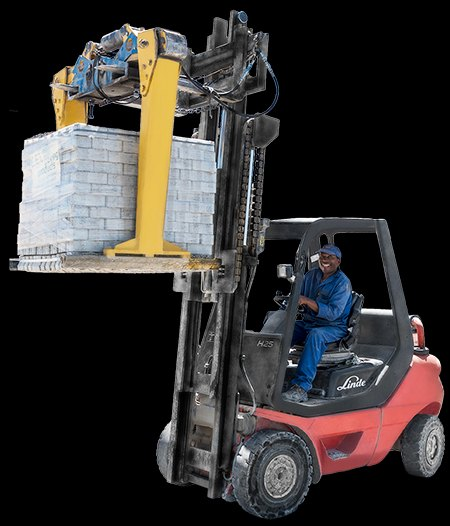 Forklift beiing used to lift Concrete Pavers