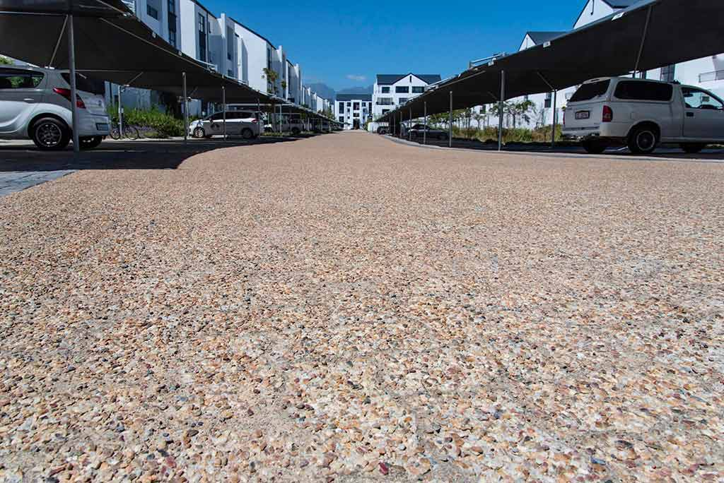 Concrete Pavers used at Residential Estate include C.E.L. Paving Interlocker, tan bond paver and aggregate paver