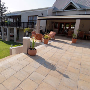 C.E.L. Paving Products Earth Slabs in a Slate finish on a patio