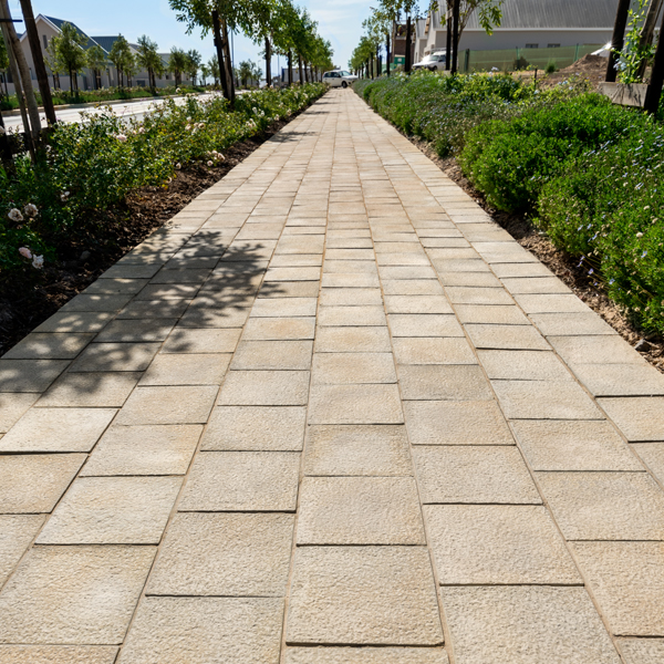 C.E.L. Paving Products commercial walkway application of block pavers in a granite finish