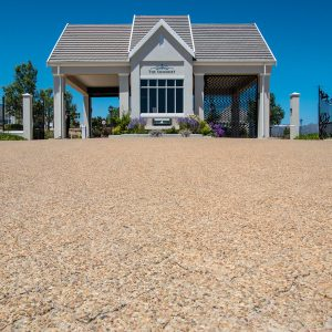 C.E.L. Paving Products commercial driveway application of Coarse Exposed Aggregate pavers