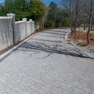 C.E.L. Paving Products commercial driveway application of fine exposed aggregate bond pavers