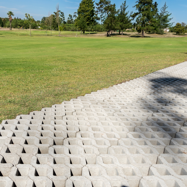 C.E.L. Paving Products commercial application of permeable Grassblocks at Durbanville Golf coarse